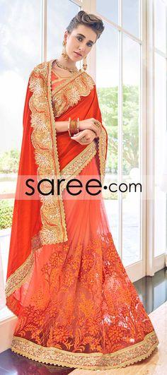 RED AND ORANGE ART SILK SAREE WITH EMBROIDERY WORK  #Saree #GeorgetteSarees #IndianSaree #Sarees  #SilkSarees #PartywearSarees #RegularwearSarees #officeWearSarees #WeddingSarees #BuyOnline #OnlieSarees #NetSarees #ChiffonSarees #DesignerSarees #SareeFashion