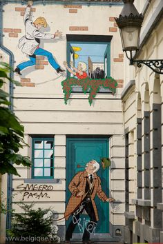 Tin Tin inspired street art in Brussels