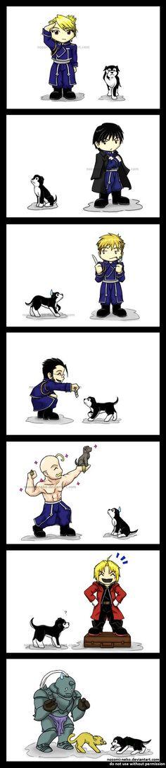 FMA Black Hayate Chibi Series by ~nozomi-neko on deviantARt Love it, but he should be tackling Ed. Dogs love Ed like that  :)