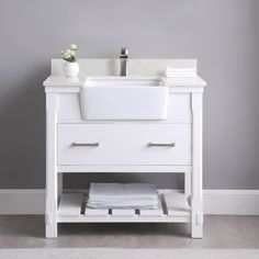 Open Shelving, Storage Shelves, Plywood Countertop, 36 Inch Bathroom Vanity, Spa Towels, Drawer Hardware, Stone Countertops, White Stone, Carrara