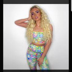 MeltedDotShop shared a new photo on Etsy Edm Outfits, Rave Mask, Festival Outfits, Festival Clothing, Bandeau Top, Smile Face, Compliments, Harem Pants, Elegant