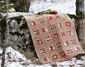 Calendario de Adviento de Navidad escandinava - patrón de punto de cruz de bricolaje, cosido en arpillera / arpillera.  Anette Eriksson Diseño, descarga instantánea.