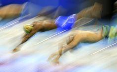 Nadadores saltam na piscina nas preliminares da natação nos 100 metros borboleta, no parque olímpico, nos Jogos Olímpicos Rio 2016