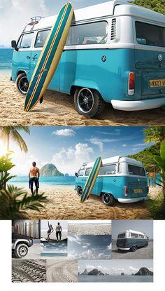 Summer surfing vanagon photoshopped
