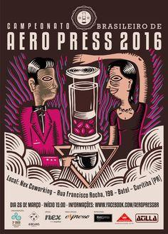 World AeroPress Championship Rad Coffee, Coffee Desk, Coffee Advertising, Advertising Poster, Brazil 2016, Aeropress Coffee, Graphic Art, Graphic Design, Coffee Poster