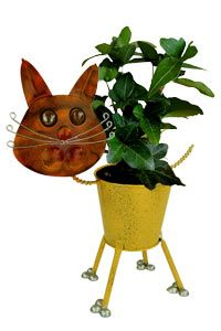Tabby Cat Recycled Metal Planter at The Animal Rescue Site