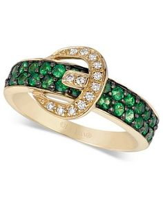 LeVian tsavorite and diamond buckle ring.