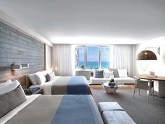 Master Bedroom Designs   An Hotel in South Beach, by Meyer Davis Studio Inc blue and white are the color for Spring! www.masterbedroomideas.eu