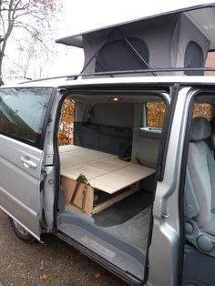 Vw Bus, Bus Camper, Mercedes Vito Camper, Converted Vans, Van Bed, Van Storage, Minivan Camping, Van Interior, Grand Caravan
