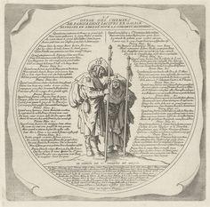 Twee pelgrims en een routebeschrijving naar Santiago de Compostela, Jacques Callot, 1623 - 1699