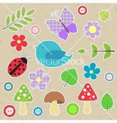 Set of scrapbook elements - animals nature buttons vector 1360372 - by darafeja on VectorStock®