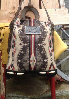 Pendleton Wool & Black Leather Western Bag by DoubleJOriginals, SOLD