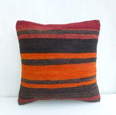 Dark brown & Tangerine Kilim Pillow Cover