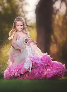"Take a look at Love Baby J's beautiful couture flower girl dress called ""Dusty Romance. Cute Flower Girl Dresses, Flower Girls, Little Girl Tutu, Girls Pageant Dresses, Feather Dress, Tulle Tutu, Tutus For Girls, Dusty Rose, Special Occasion Dresses"