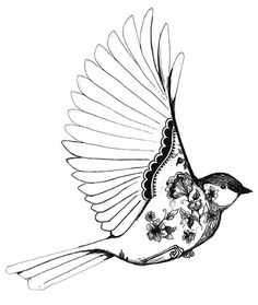 with blue and yellow shading in the flowers and the body of the bird! I'd love to have this on my shoulder