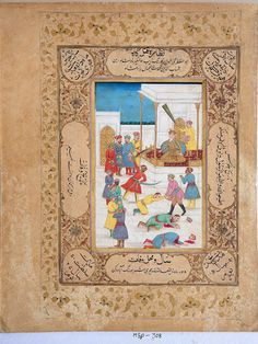 Aurangzeb giving sentences for some people, two are beheaded and one is being beheaded