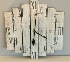 White rustic clock Distressed wooden clock by HillcraftDecor