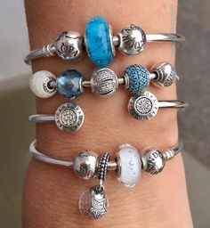 Pretty Turquoise, white and silver Pandora arm party!