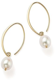Bloomingdale's Simple Sweep Earrings with Cultured Freshwater Pearl Drops in 14K Yellow Gold, 8mm