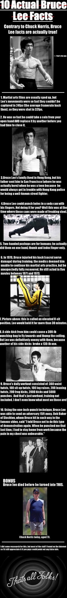 """10 Actual Bruce Lee Facts// wow! I wonder if all this is """"actually"""" still it's pretty impressive!"""