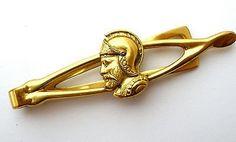 Men's Vintage Roman Soldier Tie Clip Clasp Gold Tone