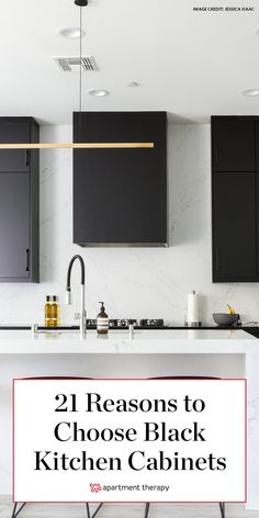 All-white kitchens might be popular, but lately, kitchens featuring black cabinetry have been a hot home trend. #kitchendecor #kitchen #kitchenideas #kitchentrends