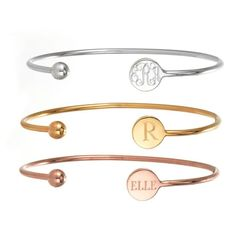 Very pretty and simple personalized bracelets. These would be cute to get with each of your kid's initial or monogram.