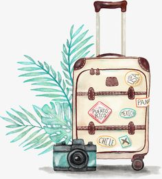 New Travel Luggage Illustration Ideas Luggage Case, Travel Luggage, Passport Travel, Camera Drawing, Camera Painting, Seaside Holidays, Drawing Clipart, Travel Wallpaper, Office Wallpaper