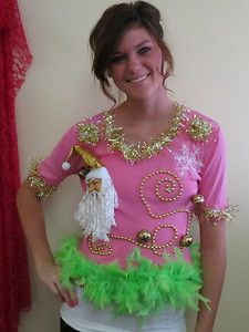 9c21eb1dfecca SEXY SHOW GIRL LIME FEATHER FOO FOO UGLY CHRISTMAS SWEATER size M BODY CON  CROP