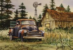 In the country and feeling good. An old barn, windmill and classic American ride with tall pines and tall grass. Fine Art America artist James Williamson has created a warm, rural, landscape in watercolor. Old Pickup Trucks, Farm Trucks, Country Paintings, Great Paintings, Vintage Posters, Vintage Art, Canvas Art, Canvas Prints, Truck Art
