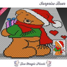 Surprise Bear crochet blanket pattern; c2c, cross stitch; graph; pdf download; no written counts or row-by-row instructions by TwoMagicPixels, $3.99 USD