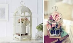 Bird cage filled up with flowers