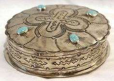 Stamped round box with turquoise | cmrussell.org