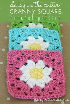Daisy in the Center Granny Square Crochet Pattern
