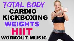 Kickboxing Cardio + Weights HIIT Interval Workout, 30 Minute Cardio Kick...