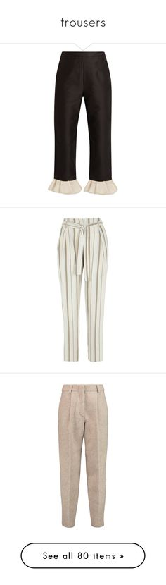 """""""trousers"""" by frenchystyle ❤ liked on Polyvore featuring pants, capris, bottoms, isa arfen, cropped trousers, frill hem trousers, flare pants, flared trousers, trousers and pants and leggings"""