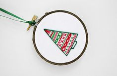 "Red and Green Abstract Christmas Tree 3"" Embroidery Hoop Ornament. $15.00, via Etsy."
