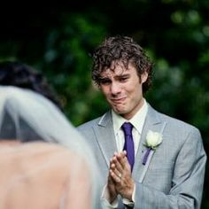 The Groom's expression every girl wants!!