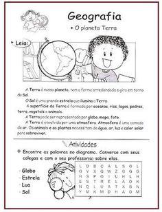 atividades sobre o planeta terra de geografia Microsoft Word 2010, Printable Worksheets, Solar System, Teaching Kids, Geography, Professor, Homeschool, Education, Sandro