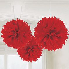 ballroom decor/ cocktail hour decor for 99's event: Red Fluffy Hanging Decorations, Red Tissue Ball Decorations