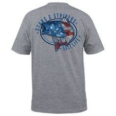 Salt Life Stars and Stripers Pocket T-Shirt for Men - Athletic Heather - 2XL