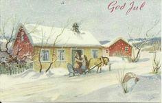 Julekort Gerhard Gjerding utg Åsmund S Lærdal brukt 1953