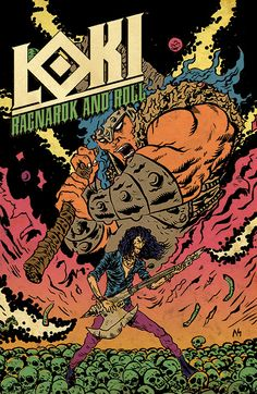 LOKI: RAGNAROK AND ROLL Author(s): Eric Esquivel Artist(s): Jerry Gaylord What happens when Odin banishes Loki to Earth? He finds a world of outcasts that appreciate his style! While his kin sharpen their weapons, he picks up an electric guitar.