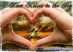 I Blow Kisses to the Sea. Miss My Sailor! #Navy #Sea  NavyMomsArt.com Navy Mom, Navy Wife, Us Navy Quotes, Navy Corpsman, Navy Girlfriend, Navy Sailor, Personalized Shirts, Sailors, Kisses