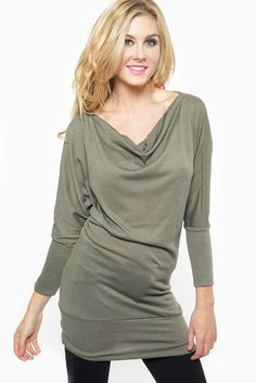Draped OliveTunic Dress @ Cicihot sexy dresses,sexy dress,prom dress,summer dress,spring dress,prom gowns,teens dresses,sexy party wear,wome...