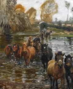 """""""Crossing the Stream"""" by Alfred J. Munnings"""