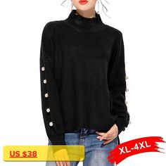 Pearl Beading Batwing Sleeve Plus Size Knitting Jumper Gray Black Women Sweaters And Pullovers Turtleneck Neck Sweater
