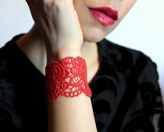 Lace bracelet cuff ! Rose lace bracelet in red, black, grey. Gift for her by LaurasPills on Etsy
