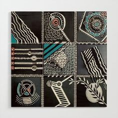 Geometric black and white Wood Wall Art