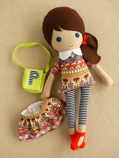 Reserved for Kate Fabric Doll Rag Doll Brown от rovingovine